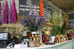 Abigail says to look at restaurants and bars you like to go to for inspiration - i love Bill's - flowers, colour, stacks of jars and tins