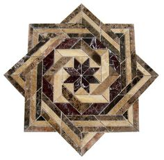 A modern mosaic floor medallion that combines intertwined square patterns.