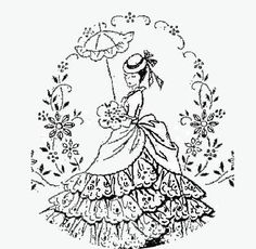 Vintage-Embroidery-Transfer-repo-5264-Crinoline-Lady-for-Pillow-Case-Sheets