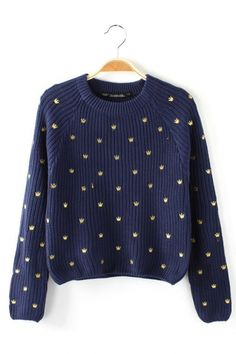 GORGEOUS Golden Crown Embroidery Sweater
