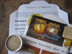 Rosemary Sugar Cookie Parcel; Winter Lights Recipe for Rosemary Parmesan Almond Cookies & tin of Rosemary Sugar, all in a handmade envelope @PumpjackPiddewick on Etsy