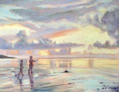 "Kim Stenberg's Painting Journal: ""Kids at Sunset Beach"" (oil on linen)"
