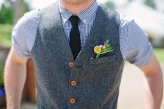 Groom wearing waistcoat, short sleeved shirt and tie for a Relaxed, Rustic Farm Wedding | Photography by http://www.camillaarnholdphotography.com/#0