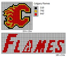 Here is patterns for the logos and name plates for the current teams of the NHL. If anyone would like the patterns for any of the teams tha. Pearler Bead Patterns, Bead Loom Patterns, Perler Patterns, Doll Patterns, Beading Patterns, Cross Stitch Designs, Cross Stitch Patterns, Nhl Logos, Haha