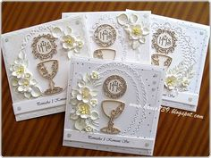 Pamiątka I Komunii Św. First Communion Cards, Holy Communion Cakes, Holy Communion Invitations, Première Communion, First Holy Communion, Confirmation Cards, Mixed Media Cards, Christian Cards, Quilling Craft