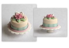 Miniature Whimsical Rose & Ribbon Cake on Pedestal  OOAK by C. Rohal