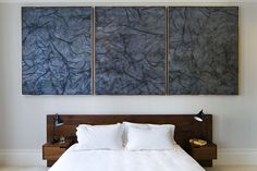 New Work. Walnut bed by Ashe + Leandro. Painting by Rudolf Stingel. Photo by Alex Chohlas-Wood