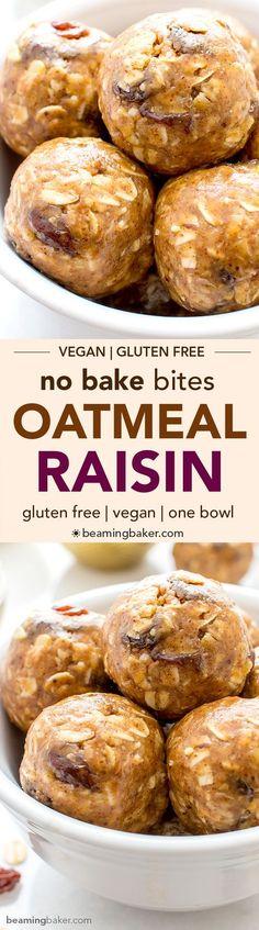 No Bake Oatmeal Raisin Bites (V+GF): A super easy, one bowl recipe for healthy energy bites bursting with oatmeal raisin cookie flavor. #Vegan #GlutenFree | http://BeamingBaker.com