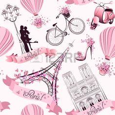 Paris Symbole nahtlose Muster Romantische Reise in Paris photo