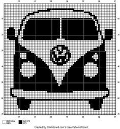 Vw-bussie. Zig Zag Crochet, Graph Crochet, Cross Stitching, Cross Stitch Embroidery, Cross Stitch Patterns, Tree Patterns, Quilt Patterns, Hexagon Quilt Pattern, Crochet Home Decor