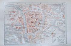1897 Würzburg -  alte Karte Stadtplan Lithografie old city map