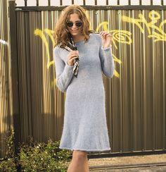 Расклешенное платье с рукавами-реглан - схема вязания спицами. Вяжем Платья на Verena.ru