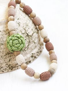 Long nursing necklace with flower  Natural beige and sage green Chunky statement floral jewelry Boho chic Choose your color - pinned by pin4etsy.com