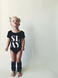 TODDLER LEOTARD SLAY Black Little Girls Leotard by HENANDCO