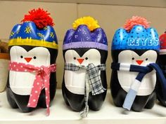 Penguin crafts are great to do especially during the Christmas season as penguins live in cold and snowy environments. Take a look at these cute christmas penguin crafts which give the holidays a personal touch. Pop Bottle Crafts, Plastic Bottle Crafts, Plastic Bottles, Empty Bottles, Plastic Pop, Bottle Art, Holiday Crafts, Holiday Fun, Christmas Projects