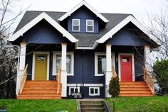Houses Painted Blue With Navy Exterior Red Doors Paintings Colors