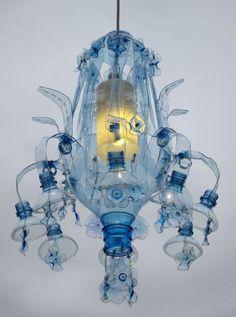 Recycled PET bottle into pendant lamp by Veronika Richterová Plastic Bottle Flowers, Plastic Bottle Crafts, Plastic Art, Plastic Design, Pet Recycling, Plastic Recycling, Recycle Plastic Bottles, Recycled Bottles, Recycled Crafts