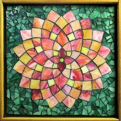 """Student Work - Framed Stained Glass Mosaic Dahlia 12"""" x 12"""" created by Debbie in the Stained Glass Mosaic Flower Workshop with Artist Kasia Polkowska - Next Class May 3-4, 2014 in Montclair, NJ"""