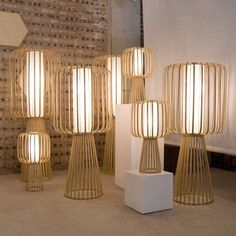 thedesignwalker:  Handmade lamps created with curled bamboo.