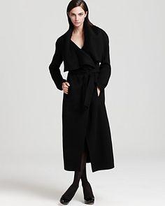 Donna Karan New York Long Sleeve Self Belted Clutch Coat