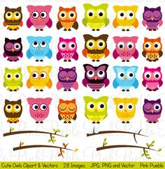 Cute Owl Clipart Clip Art Owl and Seasonal Branches by PinkPueblo