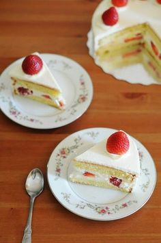 Japanese Christmas cakes are traditionally eaten on Christmas Eve in Japan. They are sponge cake, frosted with whipped cream and are often decorated with strawberry toppings or other seasonal fruits.