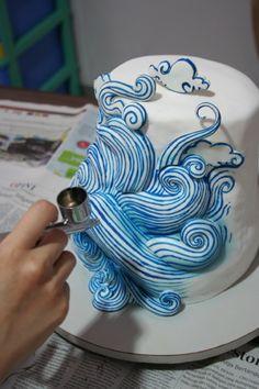 Sea Waves in progress cake