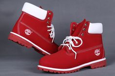 Red and White timberland boots womens 6 inch sale