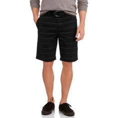 Faded Glory Men's Belted Flat Front Short, Size: 36, Black