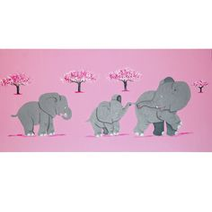 Three Pink Elephants Childrens Wall Art is a beautiful hand-painted nursery picture featuring three little elephants holding on to one another. Painted on to a pink background, the hues of grey and blue are perfect for adding colour and warmth to a nursery or little's girl's bedroom. The painting is also a unique baby  gift as it will blend in to any interior.  www.urbanmummy.co.uk/baby-gifts