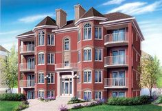 Victorian Multi-Family Plan 64952 | Fireplace, balcony and storage area for each unit. Each unit (953 sq.ft., 85.77 sq.m.): Entry hall with coat closet, family room with fireplace, dining area, kitchen, bathroom, laundry room, two bedrooms.