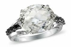 5 5/8 Carat White Topaz & Black Diamond 10K White Gold Ring