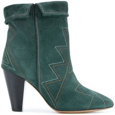 Isabel Marant Dyna ankle boots ($617) ❤ liked on Polyvore featuring shoes, boots, ankle booties, green, short leather boots, block heel ankle boots, ankle boots, slouch ankle boots and slouchy ankle boots