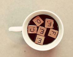 Coffee Photograph, Scrabble Tiles