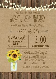 Unique wedding invitations! A great fit for any outdoor, indoor, vintage or…