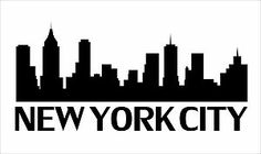 nyc skyline outline | New York City Skyline Silhouette Vinyl Wall Art Sticker Outline ...