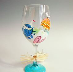 Hand Painted Wine Glass, Beach Scene w/ Blue Crab, Flip Flops, Umbrella, and Sailboat