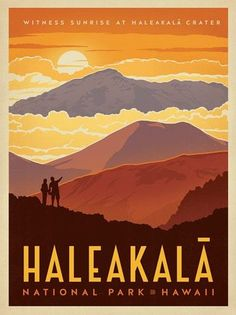 Haleakala National Park - Anderson Design Group has created an award-winning series of classic travel posters that celebrates the history and charm of America's greatest cities and national parks. Founder Joel Anderson directs a team of talented Nashville American National Parks, Us National Parks, Hawaii Travel, Travel Usa, Maui Hawaii, Hawaii Hikes, Visit Hawaii, Hawaii Volcano, Vintage Travel Posters