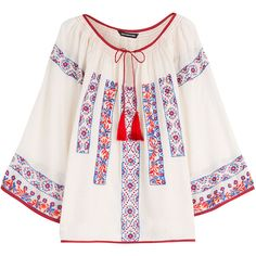 KAS New York Pisco Embroidered Cotton Blouse (660 AED) ❤ liked on Polyvore featuring tops, blouses, shirts, beige, embroidery blouses, white cotton blouse, slim fit white shirt, slimming shirts and embroidered blouse