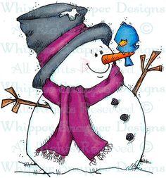A New Winter Friend - Snowmen Images - Snowmen - Rubber Stamps - Shop