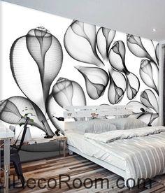 Beautiful dream black and white art transparent leaf flower wall art wall decor mural wallpaper wall paper IDCWP-000205
