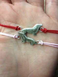 Mini Sterling Silver Dachshund Friendship Bracelet with Textile Cord - makes a great gift. $20.00, via Etsy. For Patty and Rachel