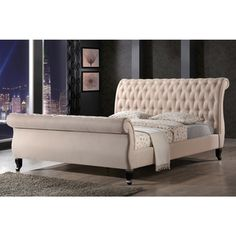 LuXeo Nottingham Tufted Upholstered Sand Sleigh Platform Bed - Overstock™ Shopping - Great Deals on Beds