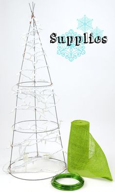 "DIY wire christmas tree craft | DIY Holiday Burlap Tree created with a Tomato Cage. Add outdoor lights & place in urn for from door / porch. Crafty Christmas decoration. Lights & ornaments completes this look indoors or out. Making this as a tree shaped adornment for front door is unique. ""Mardi Gras Outlet"""