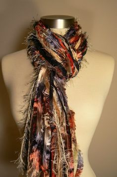 Items similar to Knotted Fringe Scarf - Class Act - Shades of Black, Red, Tan and Cream on Etsy Scarf Knots, Diy Scarf, Crochet Necklace Pattern, Ribbon Yarn, Skinny Scarves, Hand Knit Scarf, Fringe Scarf, Scarf Design, Textile Jewelry