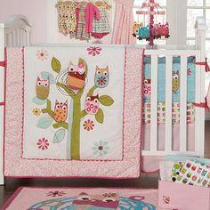 Owls - 4pc Crib Bedding Set