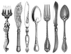 black and white clip art, kitchen printable, fork knife spoon clipart, antique cutlery engraving, vintage kitchen graphic
