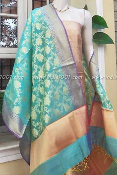 Gorgeous cotton silk dupatta with banarasi weave