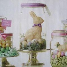 White chocolate bunny under glass