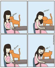 Los comics de Cat versus Human están escritos y dibujados por una autentica loca de los gatos. ¿Te sientes identificado? ¿Tu gato también te demuestra así su amor?
